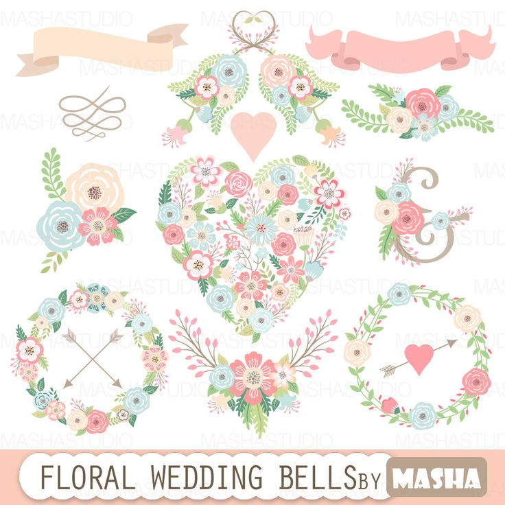 """Floral wedding clipart: """"FLORAL WEDDING BELLS"""" with floral heart clipart flower wreaths ribbons flower bouquets for wedding invitations"""