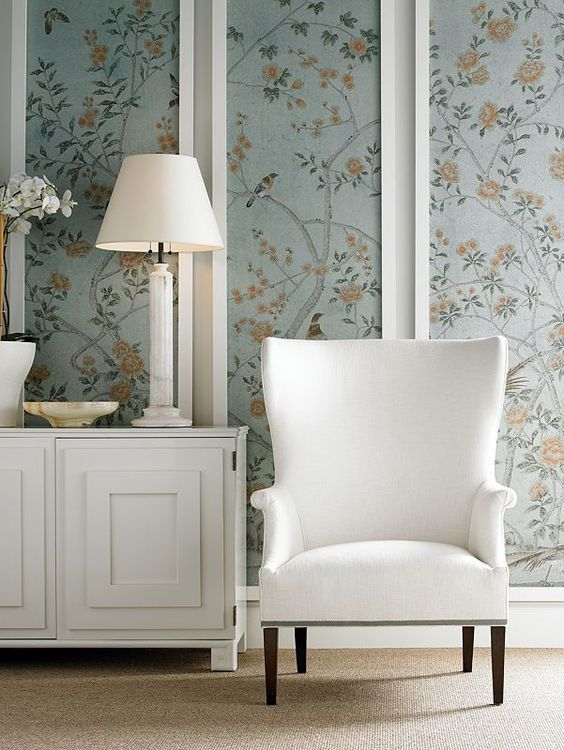 Framed wallpaper panels - A great way to add pattern to a room quickly & easily. Great idea for rented accommodation if you cant change things. Could be floor standing too. www.englishframing.co.uk