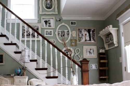 love the wall color.Decor, Wall Colors, Ideas, Stairs, Photos Wall, Families Photos, Gallery Wall, Pictures Frames, Pictures Wall