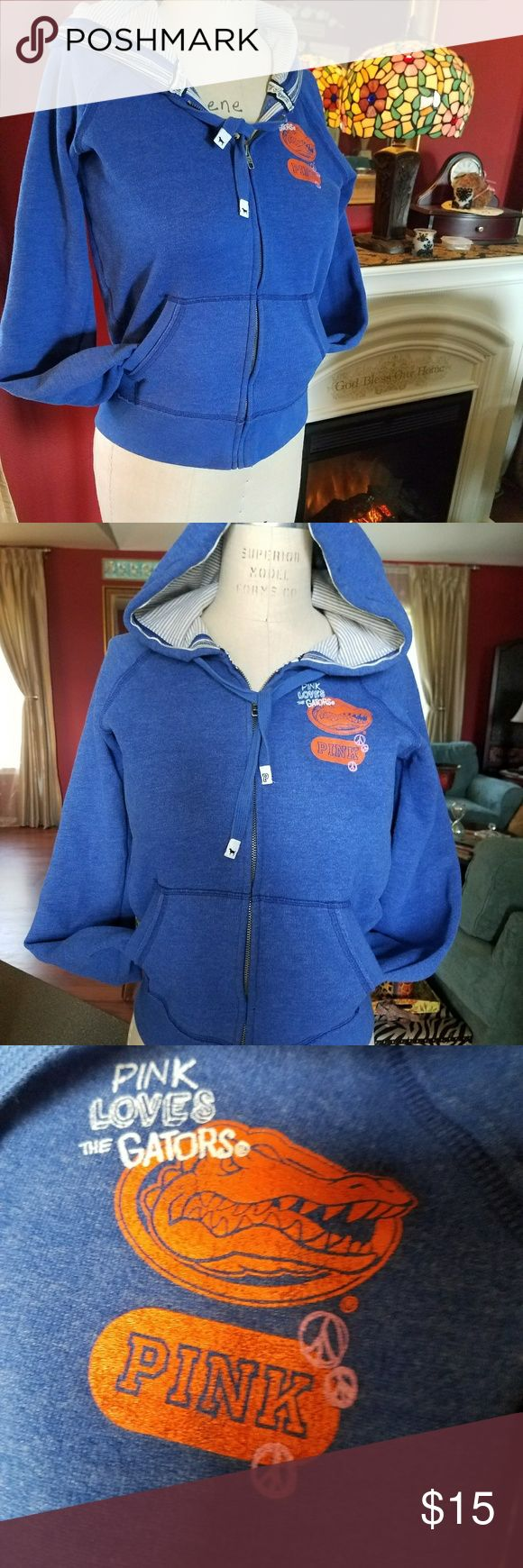 🐊Florida Gator 🐊 PINK Jacket Nice Jacket with striped hood in Florida Gator's colors.     It is marked a medium but fits more for a small. Jones & Mitchell with Victoria's Secret PINK Jackets & Coats