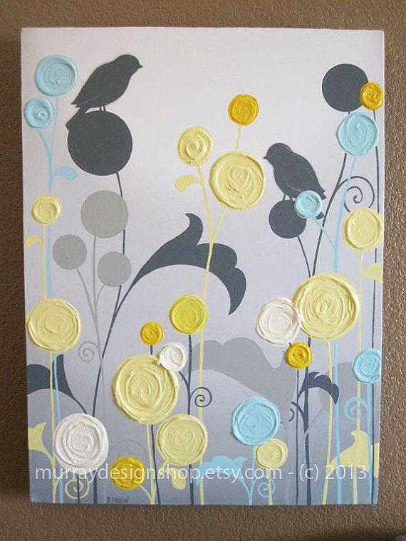 Jaune et gris Art / texturé fleurs et oiseaux par MurrayDesignShop