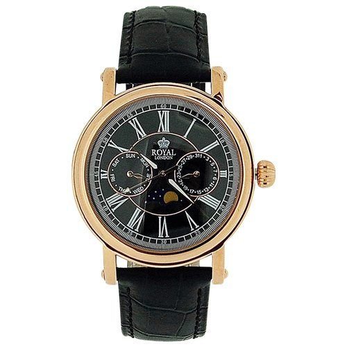 Royal London Gents Date Day Sun & Moon Phase Black Leather Strap Watch 40089-06