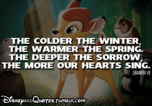 """""""The colder the winter, the warmer the spring. The deeper the sorrow, the more our hearts sing."""" — Bambi"""