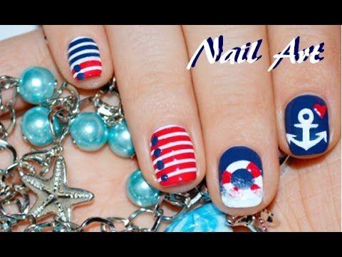 Морской дизайн ногтей / Nautical Nail Art / MixStyleCappuccino - YouTube