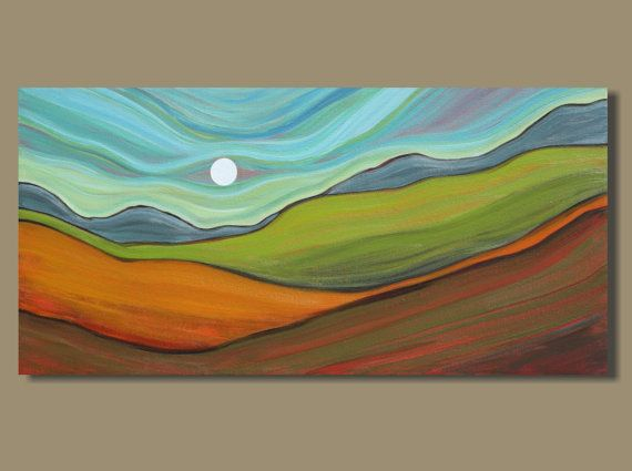 abstract painting, panoramic painting, abstract landscape painting, orange and green, fields, full moon (12x24) Hill Country: Rising Moon