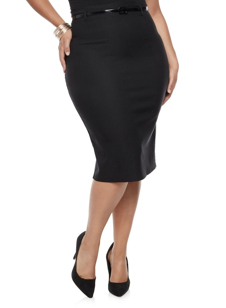 Plus Size Belted Pencil Skirt,BLACK,large