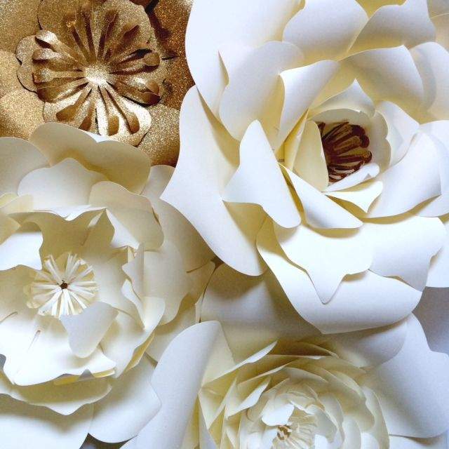 Ivory Gold Large Paper Flowers Using Paper Blooms Means