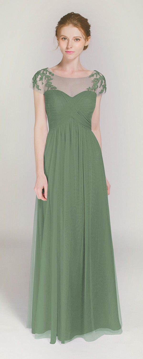 Elegant Long Illusion Neck Moss Green Bridesmaid Dress with Lace Cap Sleeves TBQP364