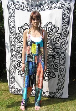 Lots of fun to be had in these patchwork dungarees - festival season please come back x