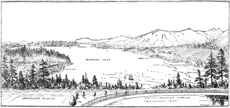 Vancouver Heights, illustrating the new city reservoir supplied from Seymour Creek, overlooking Hastings Race Track and the Burrard Inlet, a project that was completed in 1908. Drawn by S. P. (Spencer Perceval/Percival) Judge, one of Vancouver's early illustrating giants.  #eastvan #east #van #vancouver #heights #district #british #columbia #bc #canada