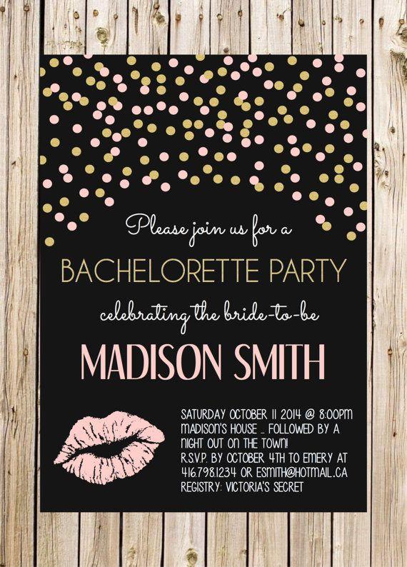 Bachelorette Invitation Black Gold Blush White by thelyricshoppe