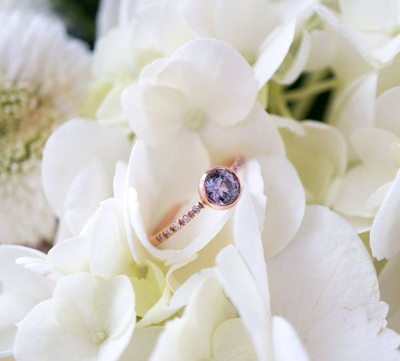 Violet Montana Sapphire Engagement Ring  Bezel Setting  by SKindCo