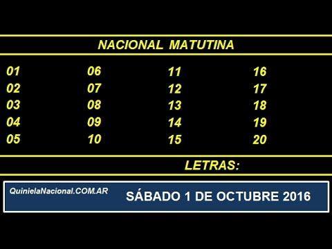 Quiniela - El Video oficial de la Quiniela Matutina Nacional del día Sabado 1 de Octubre de 2016. Info: www.quinielanacional.com.ar