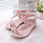 Girl's Sandals Summer Flower Girl Shoes Comfort Leatherette Wedding Outdoor Dress Casual Party & Evening Flat HeelRhinestone Flower Hook 2017 - R$54.05
