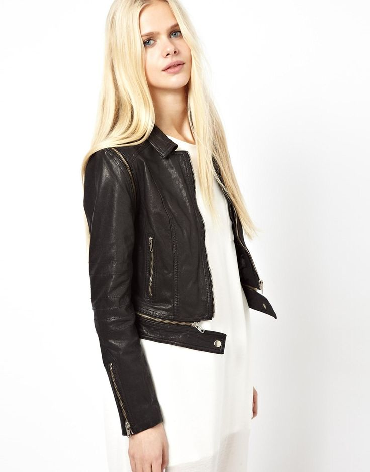 Just Female Leather Biker Jacket With Zip Off Sleeves