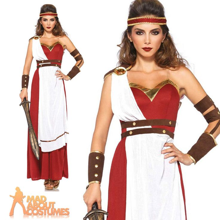 Adult Spartan Goddess Costume Roman Warrior Ladies Fancy Dress Outfit New