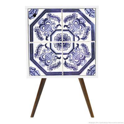 Mesa Lateral/Canto/Criado-mudo 1 Porta com Pés Palitos Branco/Azulejo Português - Phorman