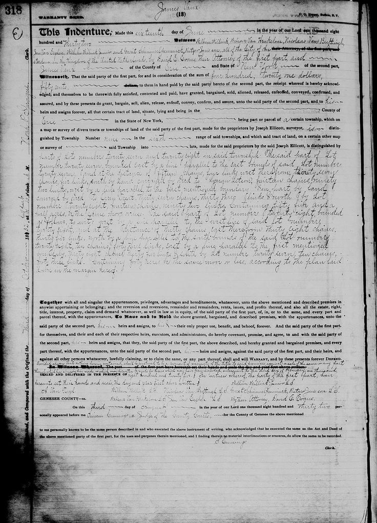 Amanuensis Monday - Post 213: 1832 Deed of Holland Company principals to James Vaux in Erie county, New York #genealogy #familyhistory