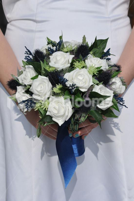 Shop Scottish Inspired Ivory Rose And Navy Thistle Bridal Bouquet Online From Silk Blooms At Just It Is An Artificial Wedding Flowers Store In UK