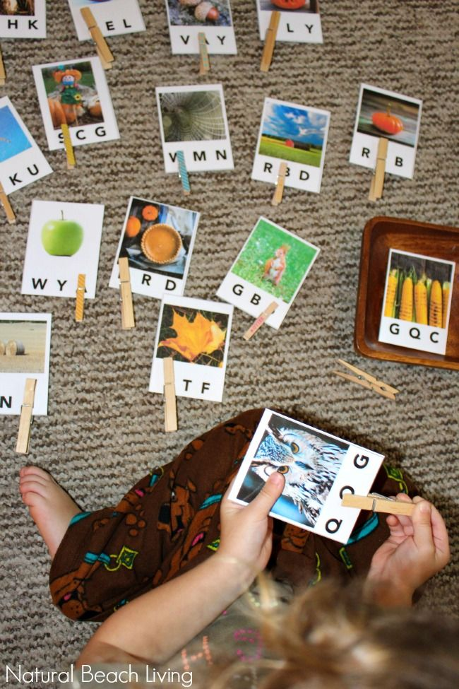 These are the Prettiest Fall Beginning Letter Sound Printables Ever!!! Perfect for alphabet fun and learning, beginning reading skills and they are FREE!