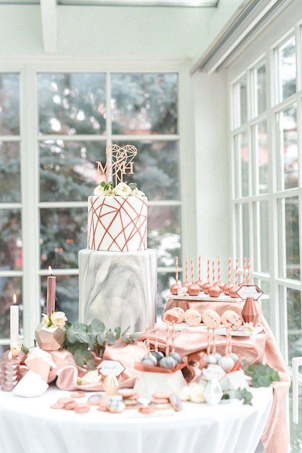 geometric copper wedding cake topper via 4lovepolkadots / http://www.deerpearlflowers.com/modern-copper-marble-wedding-inspiration/