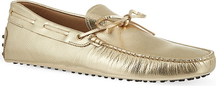 Tod's - Gold Selfridges Exclusive Tie Driver #tods #gommino #loafers #driving