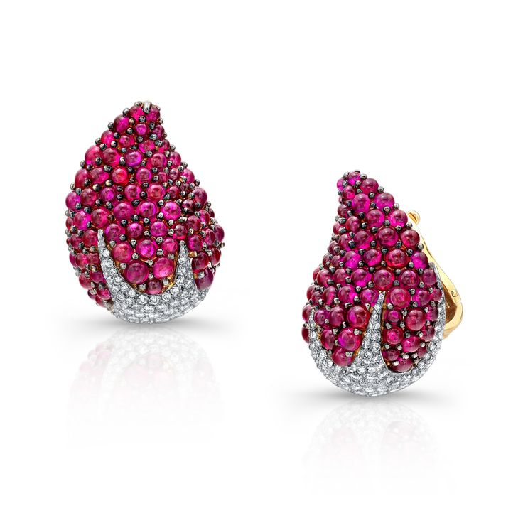 Ruby and diamond strawberry earrings by Martin Katz.