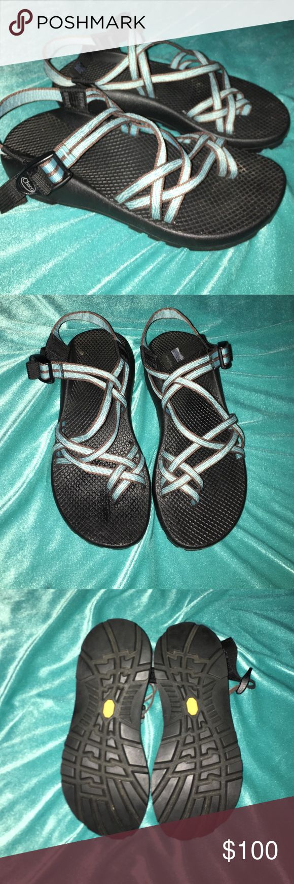 Blue Chacos Chacos with blue. Like new. Women's size 9 Chaco Shoes Sandals