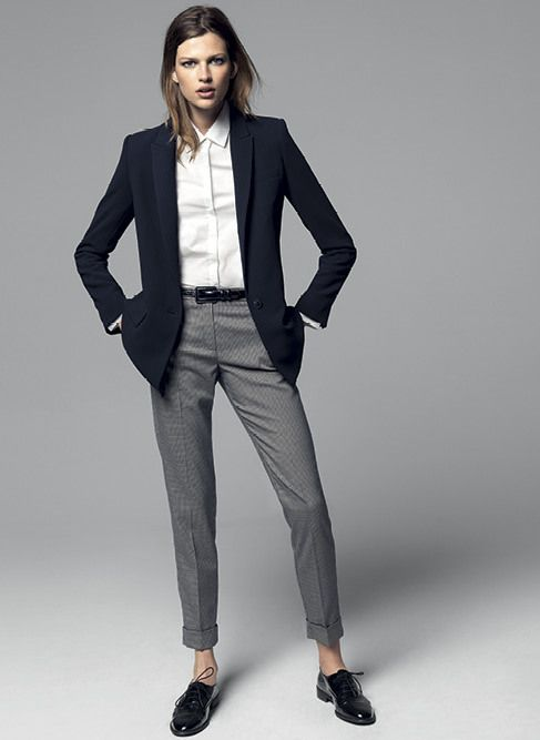 Female / Navy Blazer, Grey Skinny Leg Trousers and White Button-up, Collared Top - Masculine.