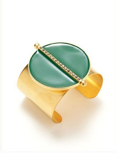 Paige Novick Emerald Green Crystal Encrusted 14Kt. Gold Plated Cuff for $99.99. Radiant gold plated cuff, beautiful Emerald Green enamel, and sparkling crystals encase your wrist with a light-lauding finish, making an absolutely irresistible piece of jewelry.  So go ahead and try this fun and edgy cuff, add some  Egyptian-chic appeal to your wardrobe.