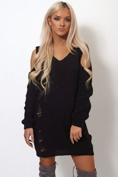 The Fashion Bible Tiki Black Cold shoulder Ripped Oversized Jumper Dress