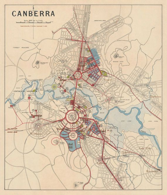 Canberra map - Old map print - 24 x 28""