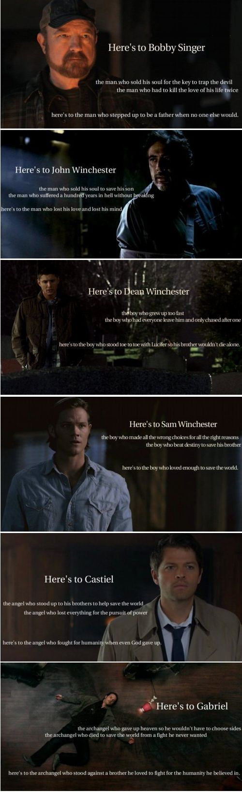Here's to the characters of Supernatural ... who loved too much||||thats okay. I didn't really need my heart anyway