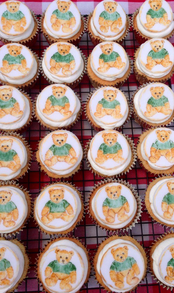 Hand painted cupcakes. Teddy bear design