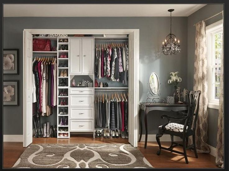 small closet design with shoe rack drawers and rods to keep everything in