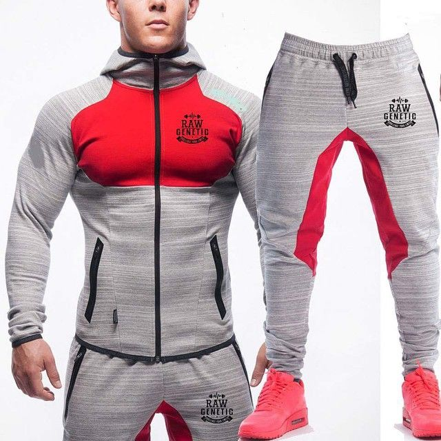 grey/red premium luxe tracksuit � Mens ...
