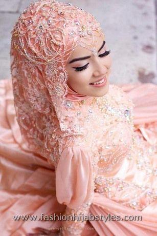 Beautiful Pink Wedding Dresses | pink hijab wedding dress