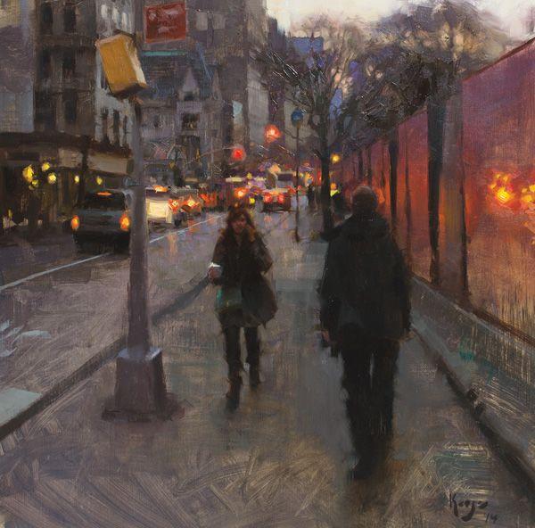 Daniel Keys, 5th Avenue Twilight, oil, 16 x 16.