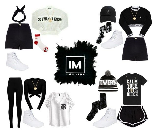 1MILLION DANCE STUDIO #18 by kariina-sykes on Polyvore featuring moda, H&M, River Island, HUF, Wolford, Vans, Finn and Boohoo