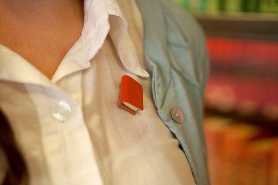 Bright Orange Miniature Book Brooch - Soft Orange Leather Book Jewellery - Handmade Unisex Accessory - Bright Colour https://www.etsy.com/nz/shop/ExLibrisJewellery