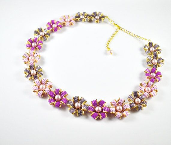 Flower Gold Pink Swarovsky Necklace Seed Beads Pearl swarovski