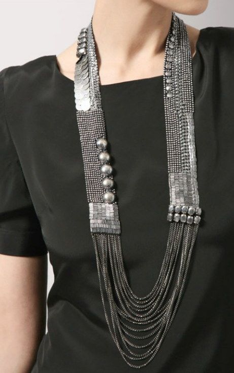 'Sylvie' necklace by Fiona Paxton (UK). Bead and sequin embroidery with chain swags.