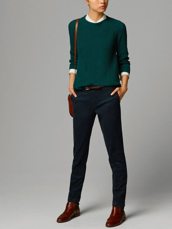 CHINOS WITH TURN-UPS by Massimo Dutti