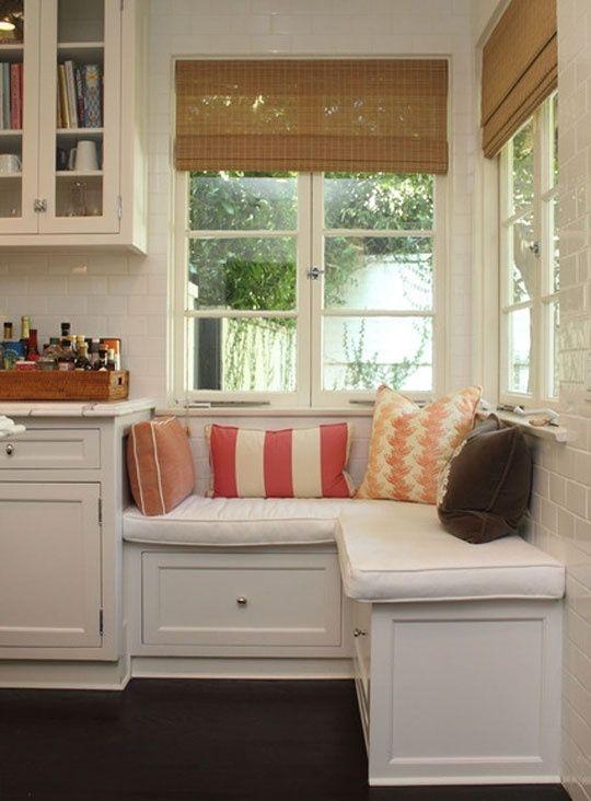 corner window seat between slider and built in pantry