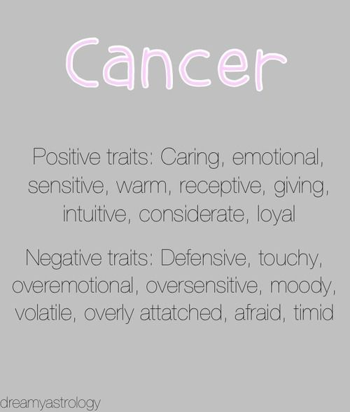 Cancer Zodiac Sign - I wouldn't say timid but reserved maybe! Yikes those negatives kinda hit spot on!