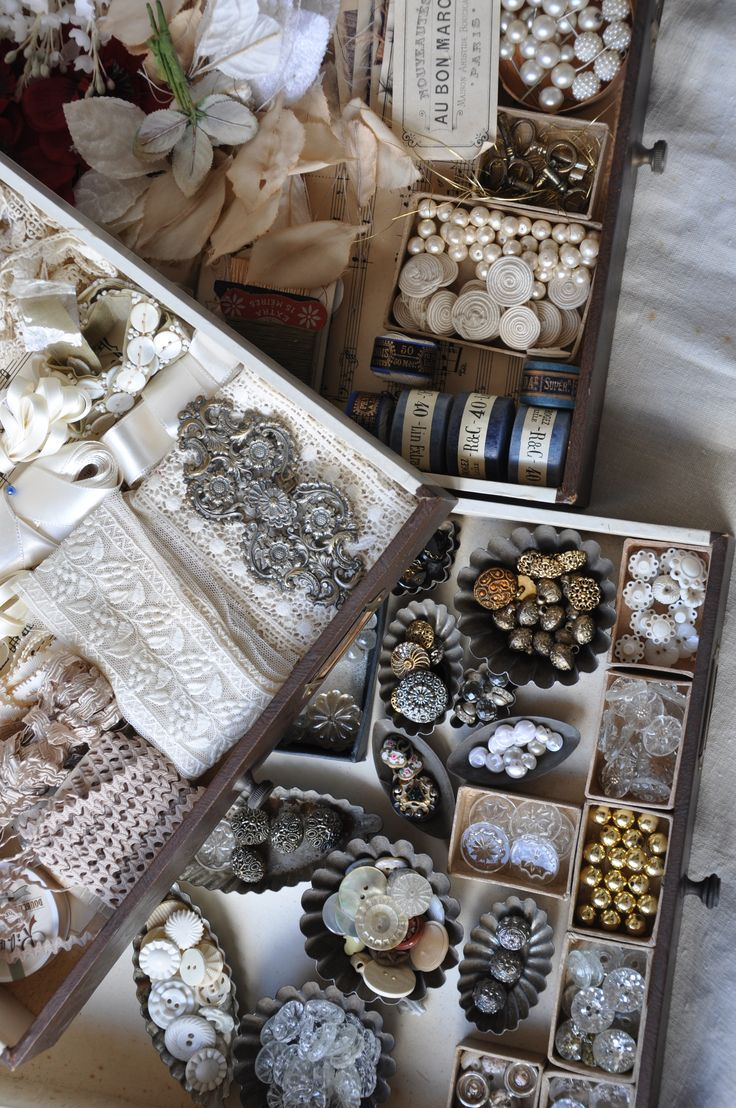 Antique French buttons, lace and accessories from my private collection. Similar can be found in our shop Lily Pond We post world wide