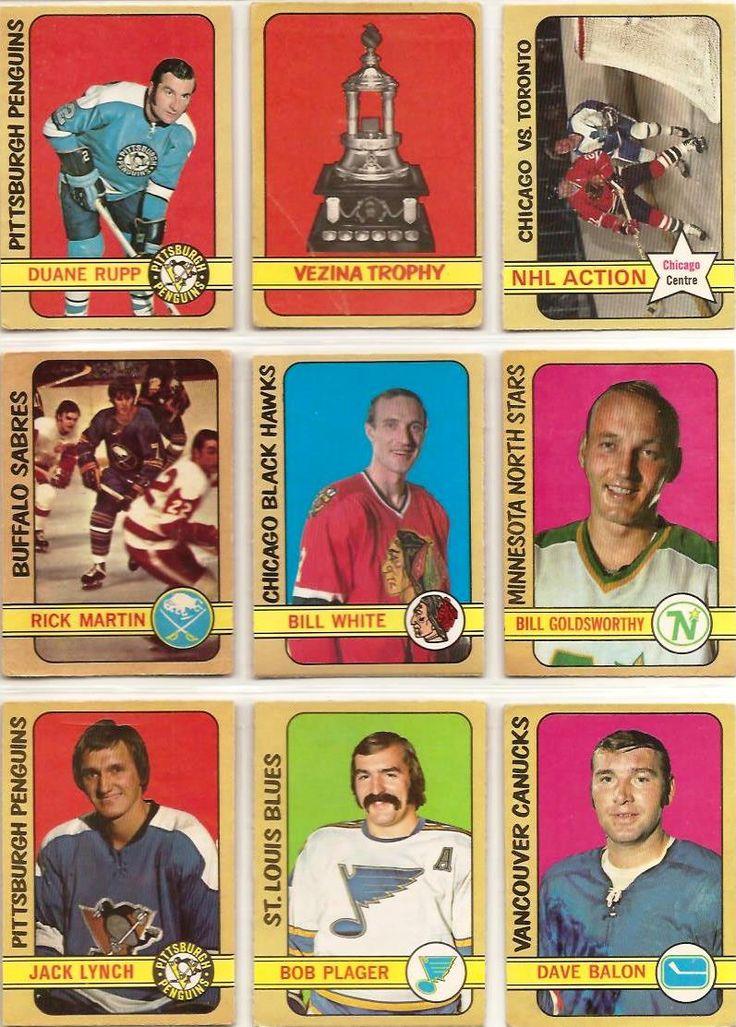 154-162 Duane Rupp, Vezina Trophy, Stan Mikita Action, Rick Martin, Bill White, Bill Goldsworthy, Jack Lynch, Bob Plager, Dave Balon
