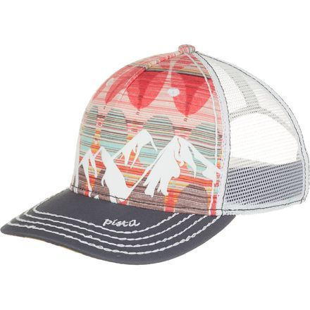 With a style as powerful as the mountain it's named after, the Pistil Women's McKinley Trucker Hat impresses folks anywhere you choose to wear it. The stretchy cotton construction with a mesh back ensures your comfort levels are sky high, while the velvet mountain range detail overlay over the colorful print fabric offers a look that'll never go out of fashion.