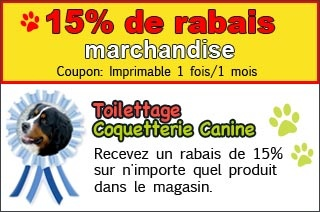 15% de rabais - marchandise - Toilettage Coquetterie Canine  Recevez un rabais de 15% sur n'importe quel produit dans le magasin.  Imprimable 1 fois/1 mois    http://www.groupvaudreuil.com/toutes-les-offres/15-de-rabais-marchandise-toilettage-coquetterie-canine