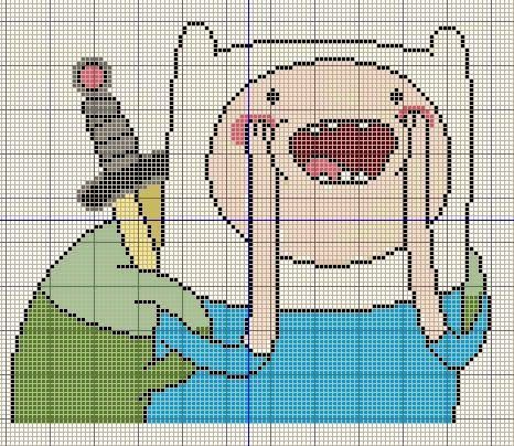 Buzy Bobbins: Finn the Human excited - Adventure Time cross stitch design